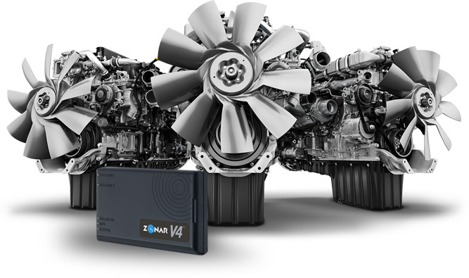 Daimler powertrain with Zonar V4 Telematics device