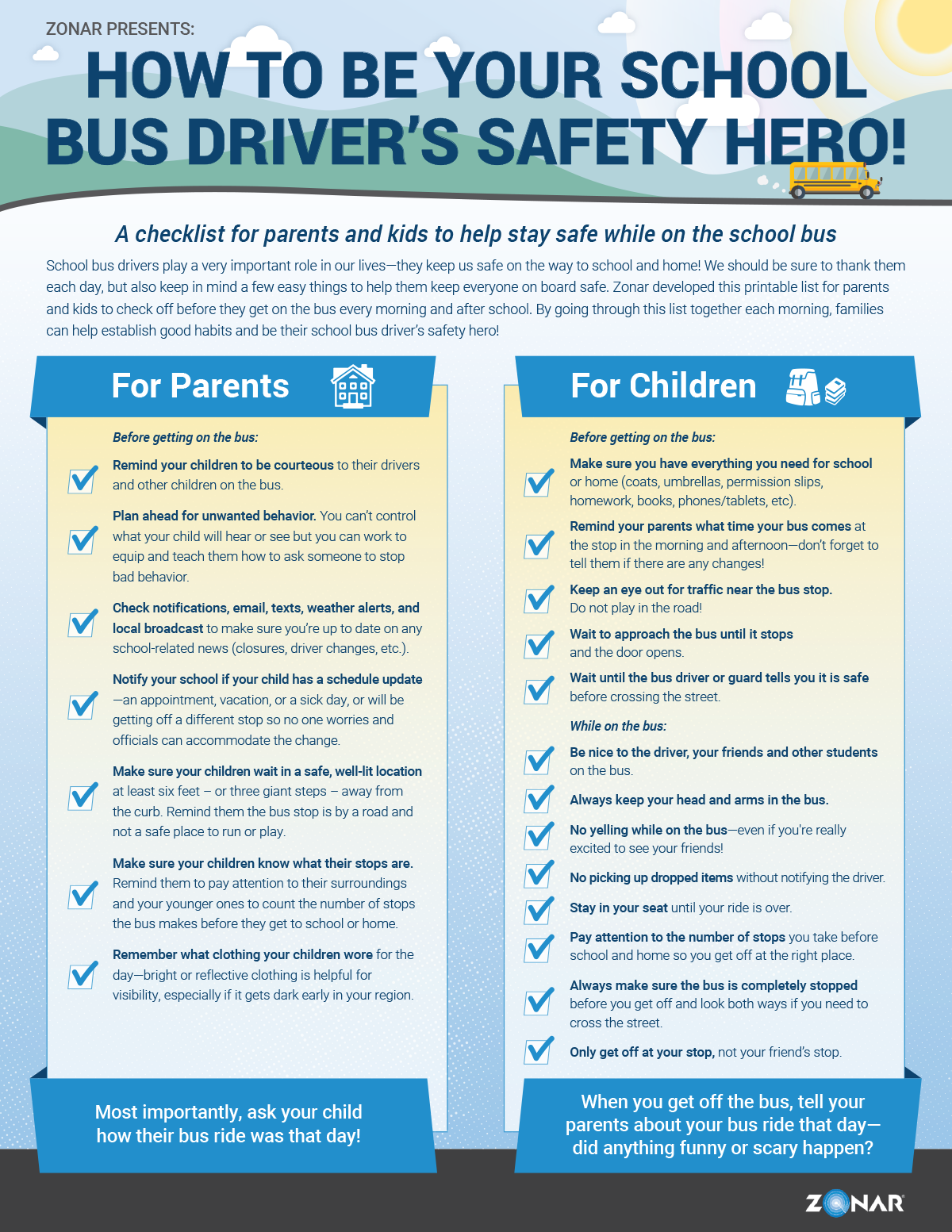 Check list for parents and kids to help stay safe on the school bus